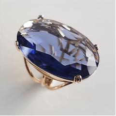 1-Anel cristal Tanzanita oval 30x20mm-  modelo Dominique