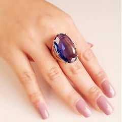 Anel cristal tanzanita oval 28x17mm - Modelo Fiorela
