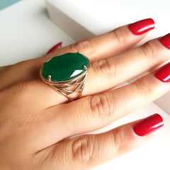 Anel cristal verde esmeralda - 25x18 mm - modelo Louise