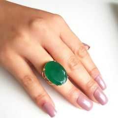 Anel cristal verde esmeralda oval25x18mm - modelo 4 aros - NUMERAÇÃO PEQUENA - modelo Blenda