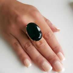 Anel cristal verde turmalina oval 30x20mm - modelo Brigite