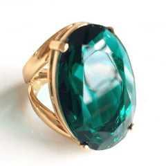 Anel cristal verde turmalina oval 30x20mm - modelo Morgana