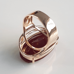 anel cristal vermelho 20x15mm - modelo Presence
