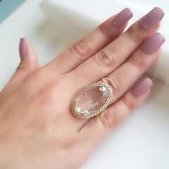 anel cristal white 33x21mm - Modelo Amarilis