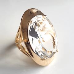 Anel cristal white oval 25X18mm - modelo Agatha