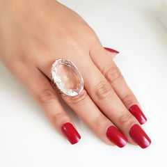 Anel cristal white oval 30x20mm - Modelo Victoria