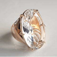 Anel cristal white oval 30x20mm - modelo Lara