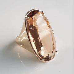 Anel de cristal champanhe 30x15mm - modelo Pietra