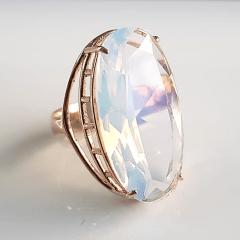 Anel de cristal pedra da lua oval  29x15mm - Modelo Iris