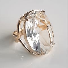 Anel cristal white oval 25x18mm - Modelo Sacha
