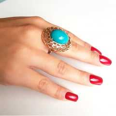 Anel pedra resina turquesa oval 20x15mm   - modelo Camélia