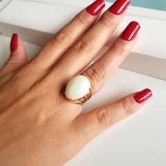 anel  pérola shell gota 20x15mm