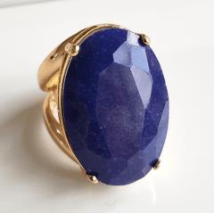 Anel quartzo azul jeans oval 30x20mm - modelo Morgana
