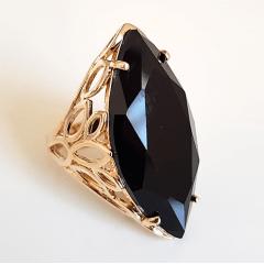 Anel Ully cristal preto ônix - formato navete