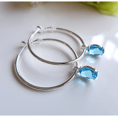 1-Brinco argola prateada com cristal azul aquamarine