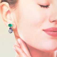 Brinco Bella de cristal lavanda + verde turmalina - prateado