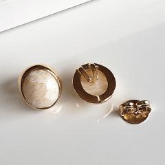 Brinco botão Amazonita bege facetada oval  - 12x10mm