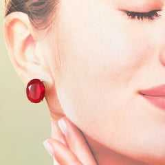 Brinco botão cristal vermelho rubi- oval 16x12mm