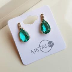 Brinco botão fashion de cristal gota verde turmalina e zircônias