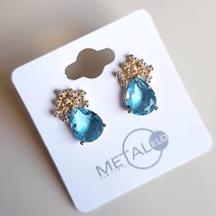 Brinco botão cristal azul aquamarine gota com zircônias