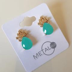 Brinco botão cristal turquesa leitoso gota com zircônias