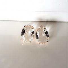 Brinco botão cristal white-oval 15x10mm