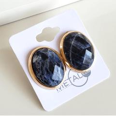 Brinco botão oval de pedra natural Sodalita 23x19mm