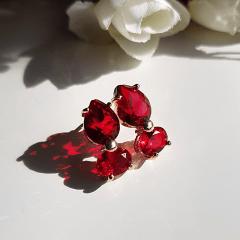 2-Brinco Charm de cristais vermelho rubi