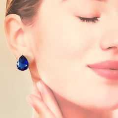 Brinco cristal azul safira gota - 16x12mm