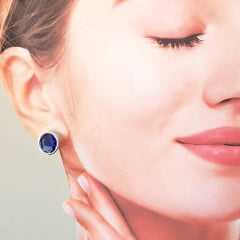 1-Brinco cristal azul tanzanita - botão oval prateado