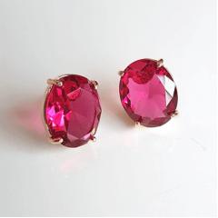 Brinco cristal rosa turmalina oval 11x9mm