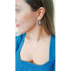 Brinco de argola quartzo azul jeans - modelo Camilla