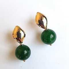 Brinco de bola quartzo verde -10mm