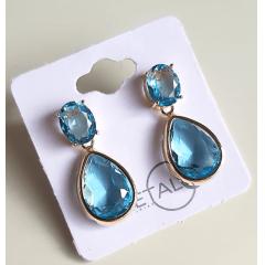 Brinco de cristais cor azul aquamarine 2