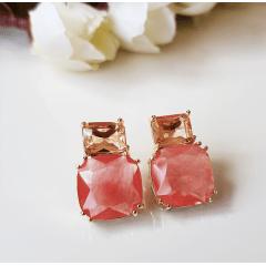 1-Brinco Executiva - de cristais pêssego morganita e cherry - quadrado