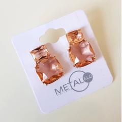 1-Brinco Executiva - de cristais pêssego morganita - quadrado