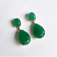 Brinco de cristais verde esmeralda