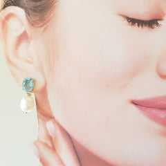 Brinco Pèrla - cristal azul aquamarine e pérola de água doce