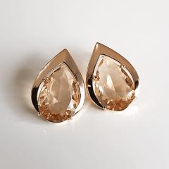 1-Brinco cristal champanhe-gota  - modelo Executiva