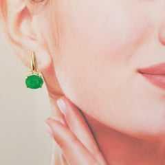 2-Brinco de cristal oval verde esmeralda
