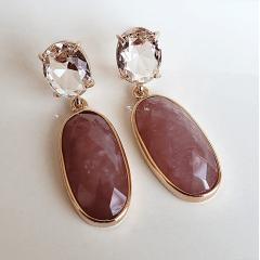 1-Brinco de quartzo goiaba e cristal rosa