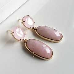 1-Brinco de cristal rosa leitoso e quartzo rosa