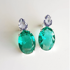 1-Brinco Executiva de cristal verde turmalina - prateado