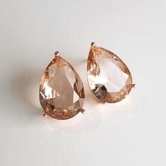 Brinco gota cristal champanhe - 14x10mm