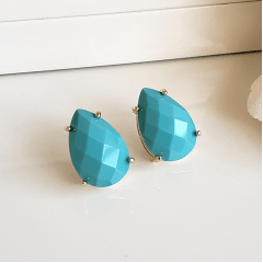 Brinco gota cristal cor turquesa