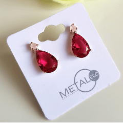 2-Brinco gota de cristal rosa turmalina