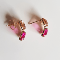 1-Brinco Executiva -  de cristais rosa turmalina e champanhe