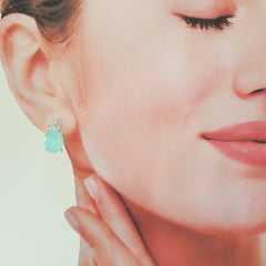 1-Brinco ponto de luz  - cristal turquesa leitoso e zircônias