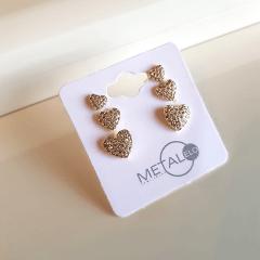 1-Kit trio de brincos corações todos cravejados de zircônias
