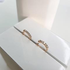 2-Piercing fake cravejado de zircônias  (11x1mm) - o par